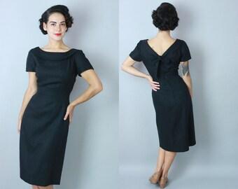 1950s Bow Back dress | vintage 50s black linen sheath dress | medium