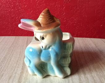 Vintage Pastel Donkey Planter by Shawnee
