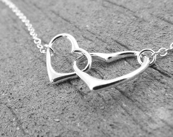 Hearts Necklace, Interlocking Hearts Necklace, Mommy and Me Necklace, Simple Hearts Necklace, Silver Heart Necklace, Minimal Heart Necklace