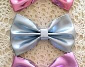Metallic Hair Bow....Faux Leather Bow....4 inch Hair Bow..Pink Hair Bow...Blue Hair Bow..Black Hair Bow...Metallic Faux Leather Bow