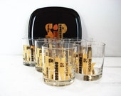 Vintage Couroc of Montery Ca USA Sip and Drink Cocktail Glasses and Tray