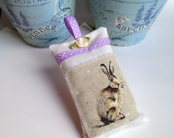 Hare Lavender bag, lavender sachet, gift for her, scented gifts, home fragrance hare