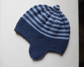 Cashmere & merino wool baby earflap hat | hand knitted blue winter hat | 6 to 12 months boy | navy stripes