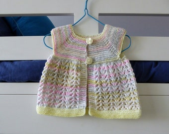 Sleeveless cardigan vest, multi colours, baby girl 6 months, lacy girls sweater, knit sleeveless baby sweater, pretty baby gift
