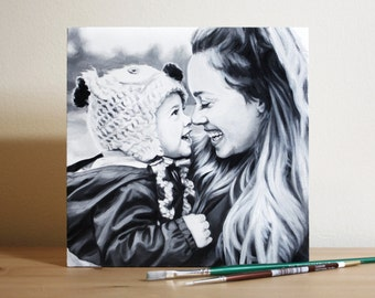 """Custom Wood Portrait Oil Painting from Photo Black and White 8""""x8"""" Wood Panel"""