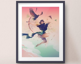 Female Archer with Hawks, Leaping in Sky Dynamic Flight Art Print Design