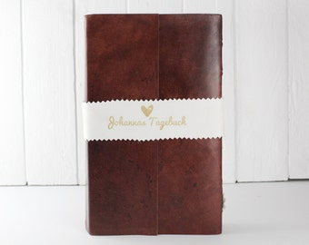 Leather guest book from handmade paper