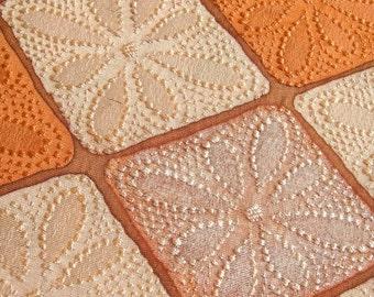 Silk japanese kimono fabric daisy pattern in whitewash terracotta mosaic 1m