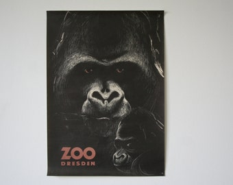 Original DRESDEN Zoo GREAT CONDITION vintage Advertising Poster - 1976