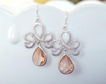 Champagne Earrings in Silver - Chandelier Earrings - Blush Earrings - Peach Earrings - Gift For Her - Wedding Jewelry, Bridesmaid Jewelry