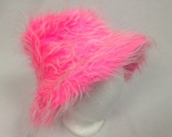pink furry fuzzy hat