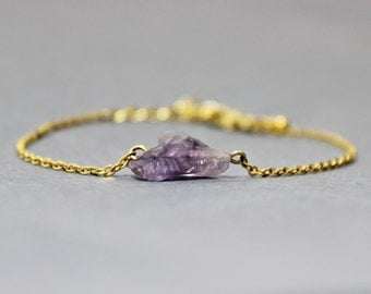Raw Amethyst and Gold Bracelet - February Birthstone Bracelet -Amethyst Bracelet