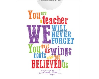 8x10 Colorful Teacher Appreciation Printable from CLASS JPEG/ Thank You Teacher Gift / End of Year Teacher Gift Ideas
