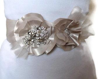 Wedding sash, Wedding belt,  Bridal sash, Flower sash, Bridal Flower Belt, Wedding Flower Sash, Rhinestone Crystals,  Crystal Sash Wedding