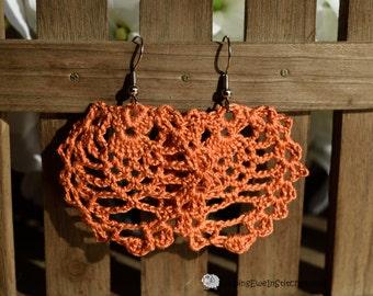 Boho crochet earrings in Harvest Pumpkin