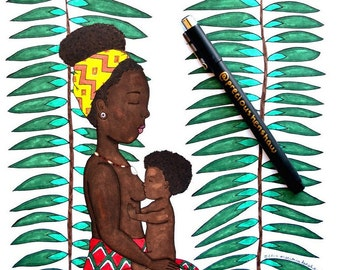 African Mother & Child | Mother's Day Art Series | 9x12 Print