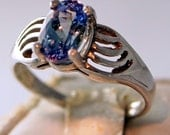 Tanzanite Ring, 1.35 Carat, Oval Portuguese Cut,  Sterling Silver Ring, Size 6 3/4