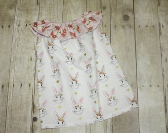 Bunny Floral Dress for Baby, toddler, and girls sz 6m, 9m, 12m, 18m, 24m/ 2, 3,4,5,6