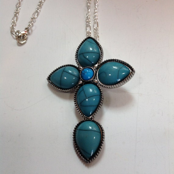 CROSS, TURQUOISE CROSS, Turquoise and Silver, Man or Woman