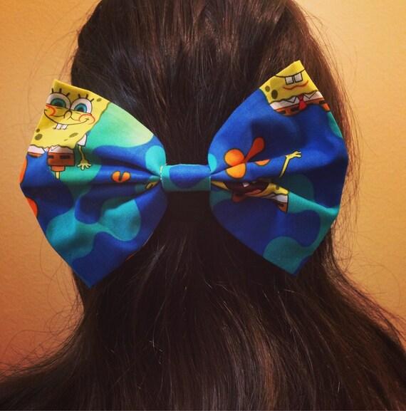 Blue Spongebob Squarepants Hair Bow