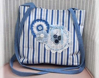 JOY! Tote, Vintage Upcycled Lace Blue & white Hip Bag Tote, Carry all Tote, Cross Body Straps, Vintage Crochet, Pocket, Cottage Chic, OOAK