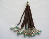 "Long soft Faux leather Tassel Brown 4"" very nice #BS-Emg"
