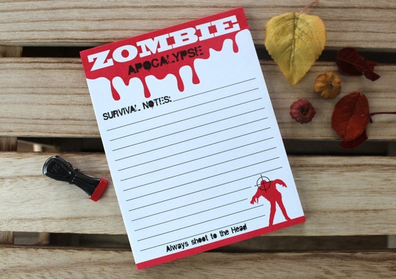 Zombie Apocalypse Funny Paper Notepad Horror Halloween Christmas Stocking Stuffer Gifts for Fans Buff Him Her Boyfriend Son Best Friend