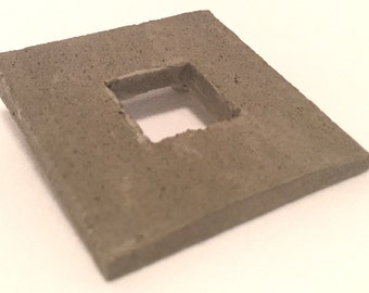Square within Square Brutalist Concrete Brooch