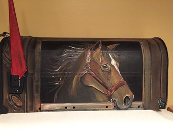 """Equestrian,Horse, Hand painted mailbox- custom design"""" Horse in  stable"""""""