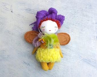 Sweet Tiny Doll, Purple Hair Doll, Tiny Doll, Mini Fairy Doll, Mini Doll, Rag Doll