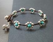 Silver Turquoise  Flower  Bracelet