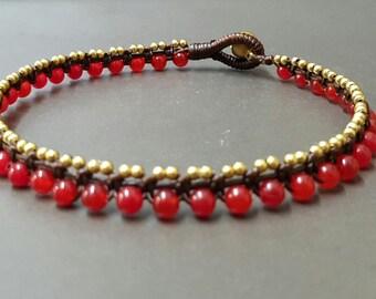 Red Jade  Ball  Brass  Anklet