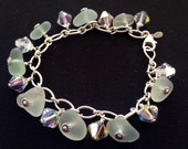 Genuine aqua sea glass charm bracelet with swarboski crystals on sterling silver heavy chain
