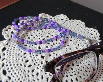 SALE Eyeglass Holder Ring Catcher Purple Glass and Paper Bead, Beaded Eyeglass Holder