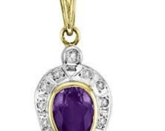 Amethyst & Diamond Pendant Necklace With Chain 14K Yellow Gold