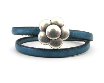 Magnetic Flower Clasp Leather Bracelet - Dark Turquoise Leather Bracelet - Leather Jewelry - Bracelets for Women - Dainty Bracelet - WL0418