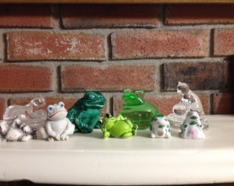 Vintage Glass & Ceramic Variety Of Frogs And Two Cat Tops