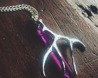 Large Purple Titanium Aura Quartz Crystal Point and Deer Antler Charm Chakra Opening Layer Necklace - Reiki Infused