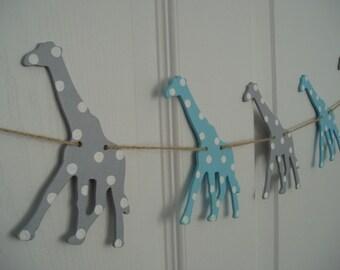 Giraffe Banner, Painted Wooden Giraffe Banner, Wooden Giraffe Bunting, Boys Baby Shower Banner, Gray, Turquoise, White