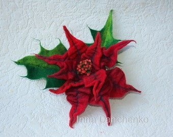 Poinsettia red, christmas gift, felted flower brooch, wet felted jewelry pin