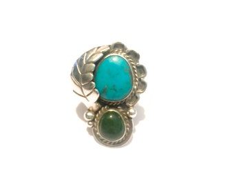 Vintage Navajo Sterling Silver Turquoise & Green Agate Ring