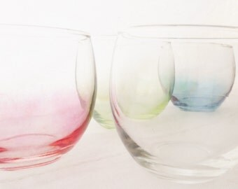Vintage Roly Poly Rocks Glass Set of Four, Glassware, Red, Blue, Green, and Clear, Gem Tone, Barware Mid Century, 1960's