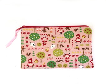 Zipper Pouch Cosmetic bag beauty bag little red riding hood rose kawaii