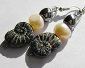 Black Glass Ammonite Beads, Freshwater Pearls, and Hematite Glass Beaded Dangle Earrings