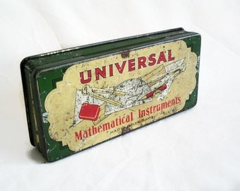 Universal Mathematical Instruments tin box Vintage made in England math tool container. Shabby weathered metal. Fathers Day, engineer gift