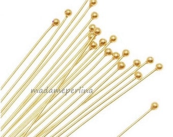 30 pcs  ball end headpins 23 gauge Ball Head Pin Gold Plated brass 23ga 2 inch 50mm  mdla197
