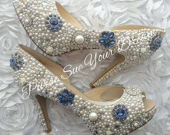 Custom Vintage Inspired Heels - Swarovski Crystal Heels - Pearl  and Rhinestone Heel Shoes - Wedding Bridal Shoes - Custom Wedding Shoes