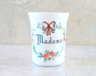 Milk Glass Tumbler Hand Painted White Milk Glass Flowers and Ribbons Madame Vanity Cup Bristol Glass Chamber Cup