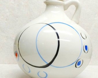 California Pottery Carafe Ivory Stoneware Cork Top Orange Black and Blue Circles Hand Painted Art Deco Pitcher Balloon Decanter