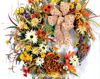 Fall Grapevine Wreath, Rusty Orange Wreath, Front Door Wreath, Copper Wildflower Wreath, Wreath w Burlap, Fall Decoration, Autumn Wreath